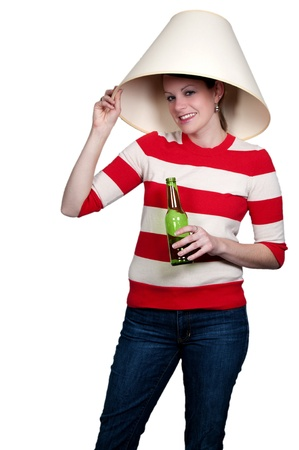 lampshade: Women drinking adult beverages at a party wearing a lampshade Stock Photo