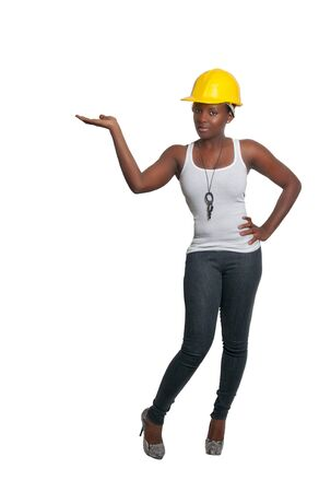 Black woman African American constuction worker Stock Photo - 8671847