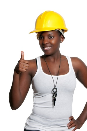 Black woman African American constuction worker Stock Photo - 8672418