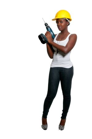 Black woman African American constuction worker holding a cordless drill Stock Photo - 8671780