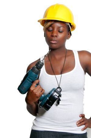 Black woman African American constuction worker holding a cordless drill Stock Photo - 8672022