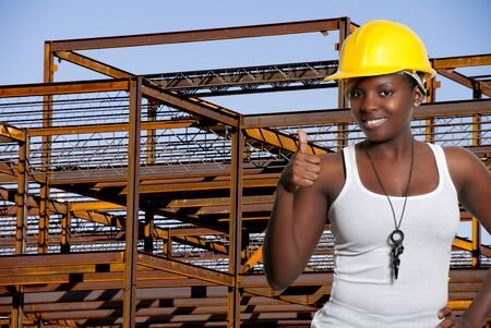 site manager: Black woman African American constuction worker