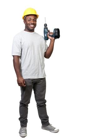 Un operaio della costruzione African American uomo nero un luogo di lavoro. Archivio Fotografico - 8672851