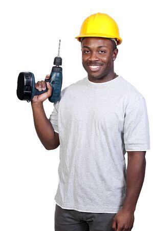 the job site: Un operaio della costruzione African American uomo nero un luogo di lavoro.