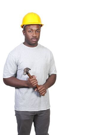 A black man African American Construction Worker on a job site. photo