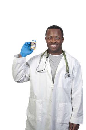 Black man African American holding a prescription medication pill bottle Stock Photo - 8672870