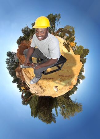 A black man African American Construction Worker on a job site. Stock Photo - 8672894