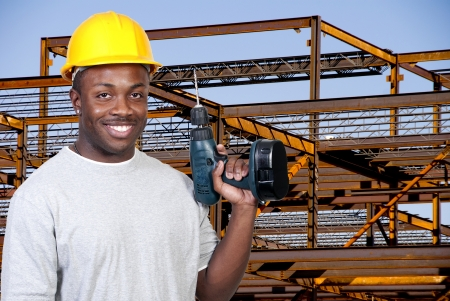 A black man African American construction worker a job site. photo