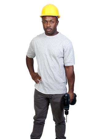 A black man African American construction worker a job site. Stock Photo - 8890913