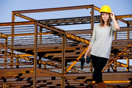architect tools: A Female Construction Worker on a job site. Stock Photo