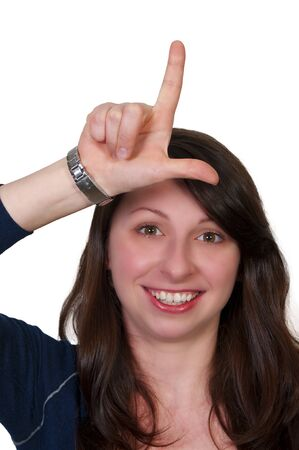 disrespectful: A woman making the loser sign with her hand
