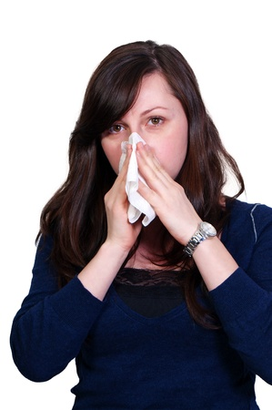 hanky: A beautiful woman with a cold, hay fever or allergies blowing her nose