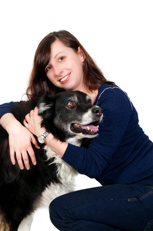 A beautiful woman with her full breed pedegree border collie photo