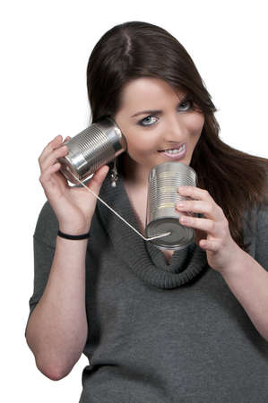 A woman talikng on a primative phone Stock Photo - 9585985