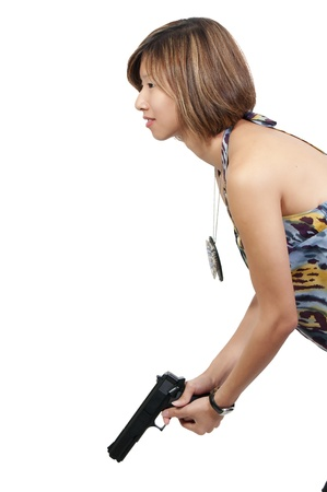 aims: A beautiful Asian female police detective woman on the job with a gun