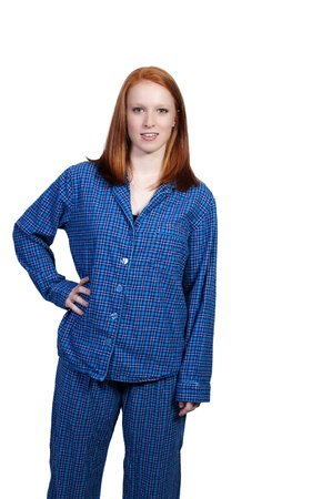 pjs: A young woman waking up in her pajamas in the morning Stock Photo