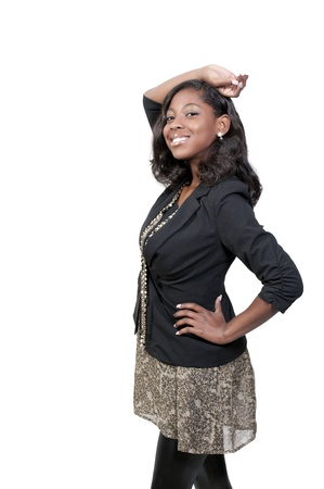 A very beautiful African American black woman teenager Stock Photo - 9589301