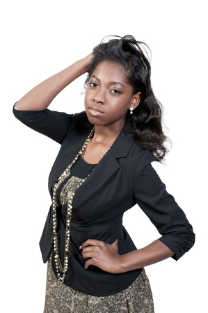 A very beautiful African American black woman teenager  Stock Photo - 9589418