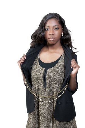 A beautiful young teenage African American woman suffering from the mental illness of depression Stock Photo - 9586249