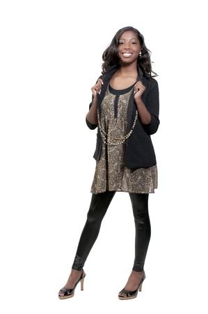 Un adolescente muy hermosa mujer negra afroamericana