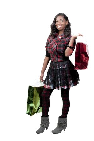 black teens: A young beautiful black African American teenage woman on a shopping spree