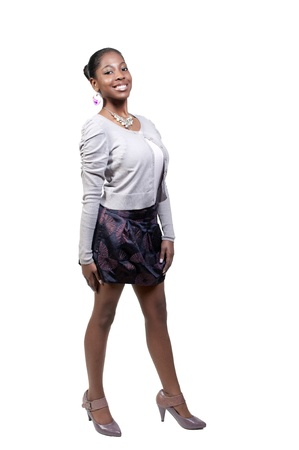 A very beautiful African American black woman teenager with a big smile Stock Photo - 9589327
