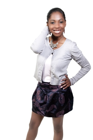 A very beautiful African American black woman teenager with a big smile Stock Photo - 9586201