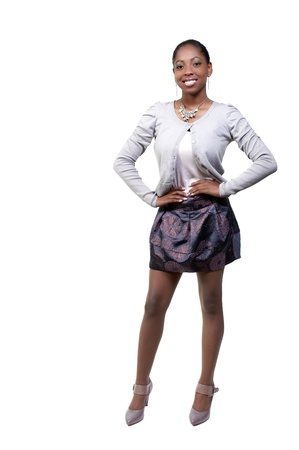A very beautiful African American black woman teenager with a big smile Stock Photo - 9582944