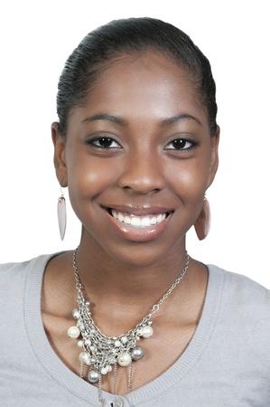 큰 미소로 아주 아름다운 흑인 흑인 여자 십대 스톡 콘텐츠