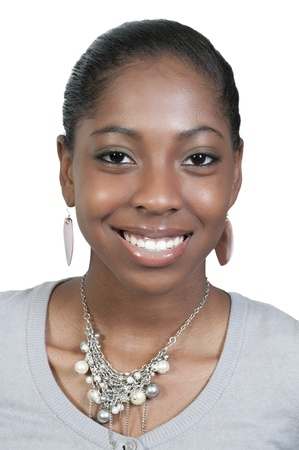 black woman face: A very beautiful African American black woman teenager with a big smile