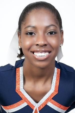 A young teenage black african American cheerleader Stock Photo - 9586310
