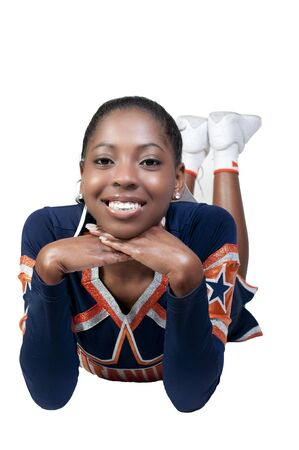 A young teenage black african American cheerleader photo