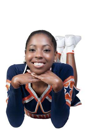 black cheerleader: A young teenage black african American cheerleader