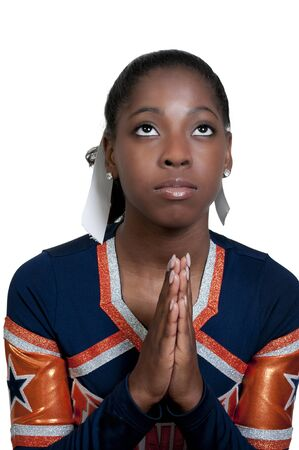 A young teenage black african American cheerleader Stock Photo - 9779293