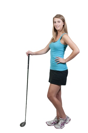 A very beautiful and young woman golfer photo