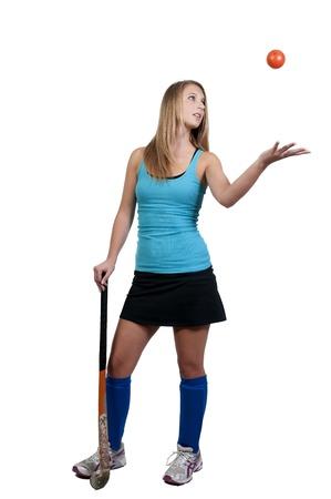 A beautiful young woman field hockey player Stock Photo - 10191811