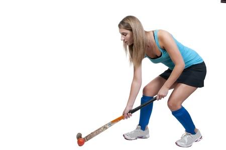 Een mooie jonge vrouw hockey-speler Stockfoto