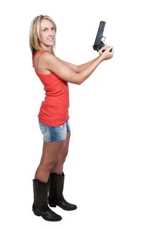 A beautiful police woman on the job Stock Photo