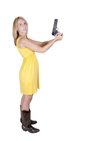narc: A beautiful police detective woman on the job with a gun