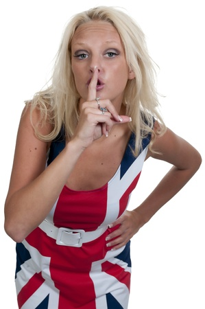 shush: A woman saying be quiet by saying shhh Stock Photo