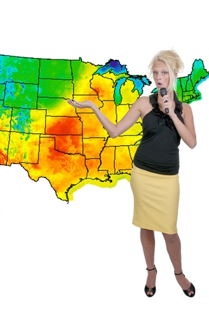 A beautiful woman weather girl with a microphone photo