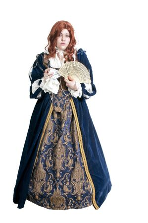 queen's theatre: A woman dressed as a renaissance aristocrat in authentic dress