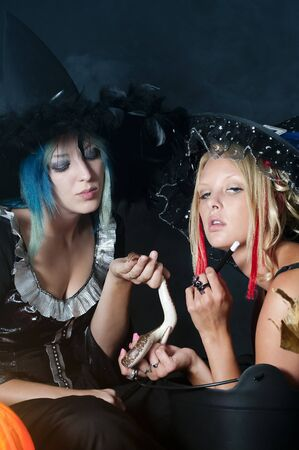 orange snake: Beautiful young women witches with a snake  Stock Photo