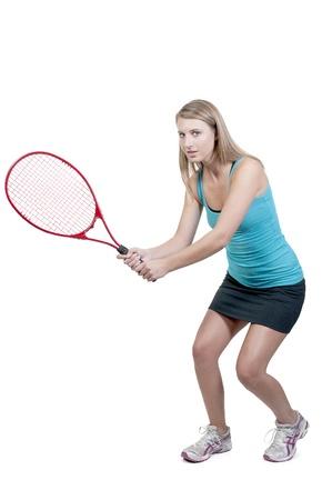 Een mooie vrouw spelen van de sporten tennis