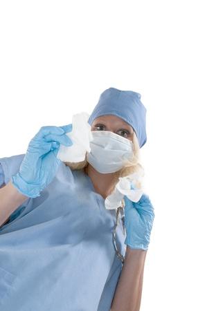 아름 다운 젊은 여자의 외과 수술을 수행 스톡 콘텐츠