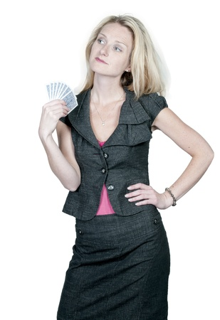 bluff: A beautiful woman playing cards - lady luck Stock Photo