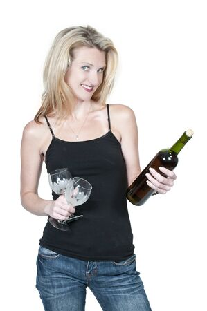 A beautiful  woman holding a wine bottle and glasses photo