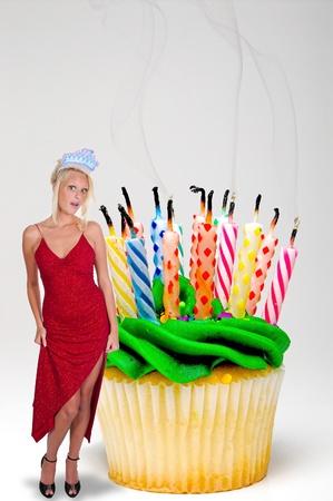 diadem: A young Beautiful Woman wearing a birthday tiara Stock Photo