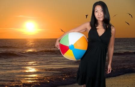 A beautiful young Asian woman holding a beachball photo