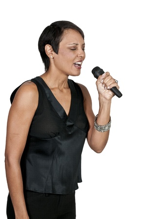 A beautiful woman singer performing at a concert